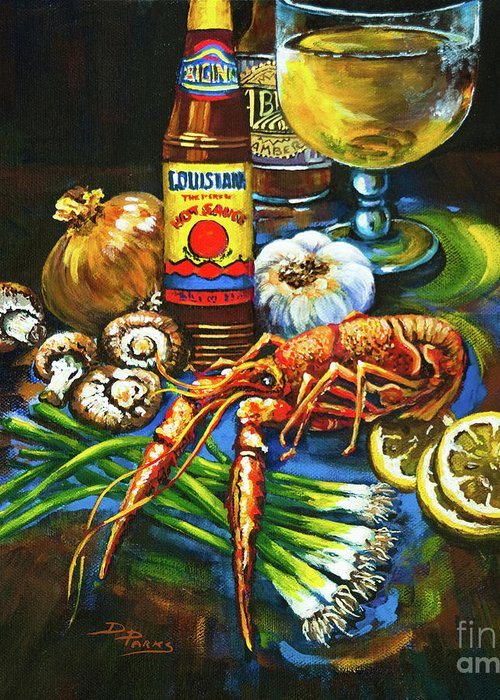 Crawfish Greeting Card featuring the painting Crawfish Fixin's by Dianne Parks