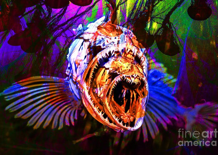 Jelly Greeting Card featuring the photograph Creatures Of The Deep - Fear No Fish 5d24799 V2 by Wingsdomain Art and Photography