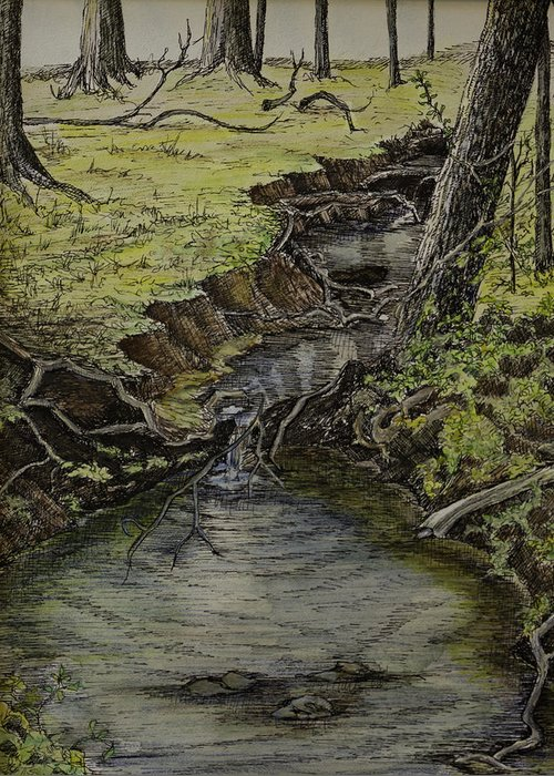 Creek Greeting Card featuring the painting Creek by Janet Felts