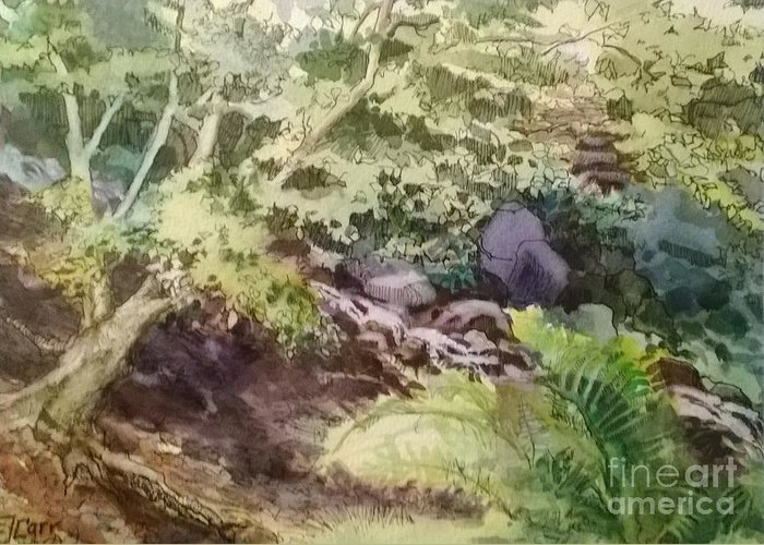 Garden Greeting Card featuring the painting Creekside Smith Gilbert Gardens by Elizabeth Carr