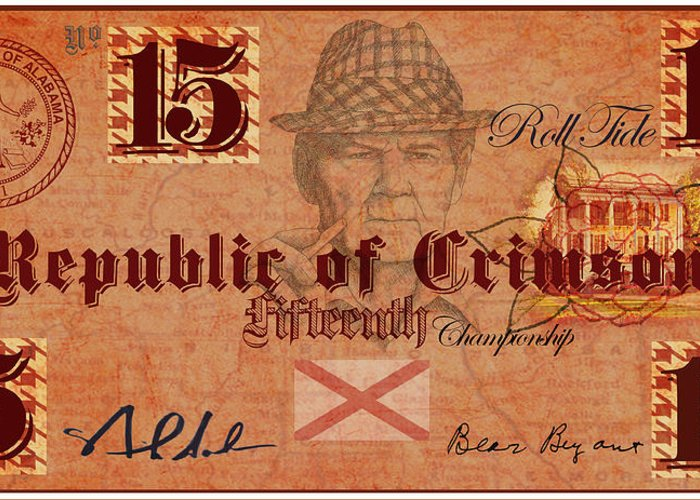 Money Greeting Card featuring the digital art Crimson Tide Currency by Greg Sharpe