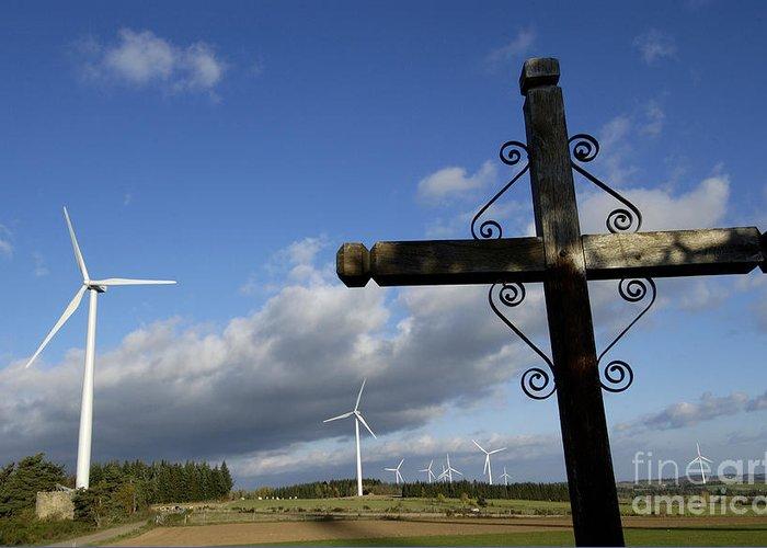 Sky Greeting Card featuring the photograph Cros And Winturbine by Bernard Jaubert