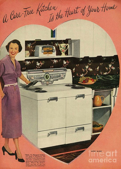 1950�s Greeting Card featuring the drawing Crosleys 1950s Uk Cookers Kitchens by The Advertising Archives