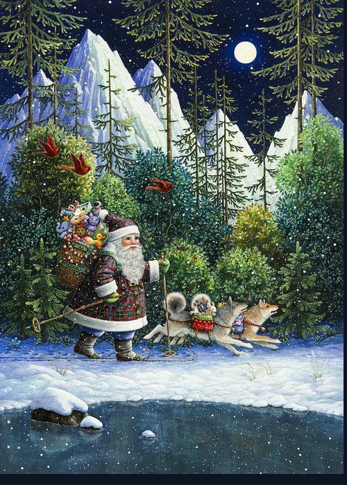 Santa Claus Greeting Card featuring the painting Cross-country Santa by Lynn Bywaters