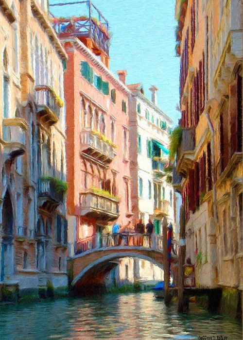 Adriatic Greeting Card featuring the painting Crossing The Canal by Jeff Kolker