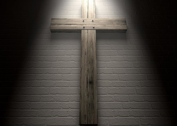 Crucifixion Greeting Card featuring the digital art Crucifix On A Wall Under Spotlight by Allan Swart