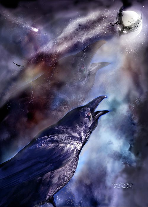 Raven Greeting Card featuring the mixed media Cry Of The Raven by Carol Cavalaris