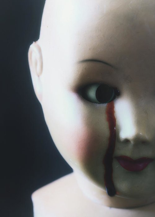 Doll Greeting Card featuring the photograph Crying Blood by Joana Kruse