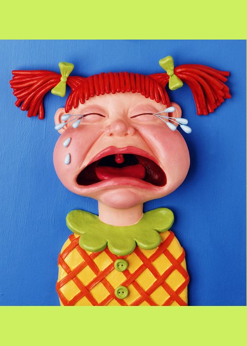 Girl Greeting Card featuring the sculpture Crying Girl by Amy Vangsgard