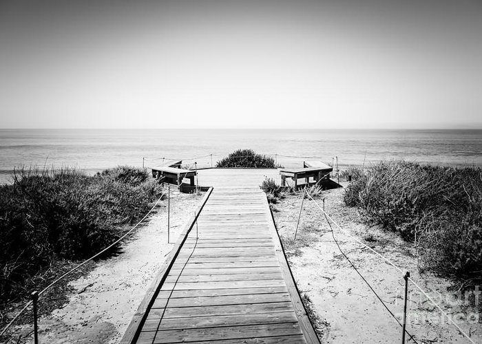 America Greeting Card featuring the photograph Crystal Cove Overlook Black And White Picture by Paul Velgos