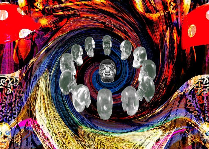 <a> Abstract Greeting Card featuring the digital art Crystal Skulls by Jason Saunders