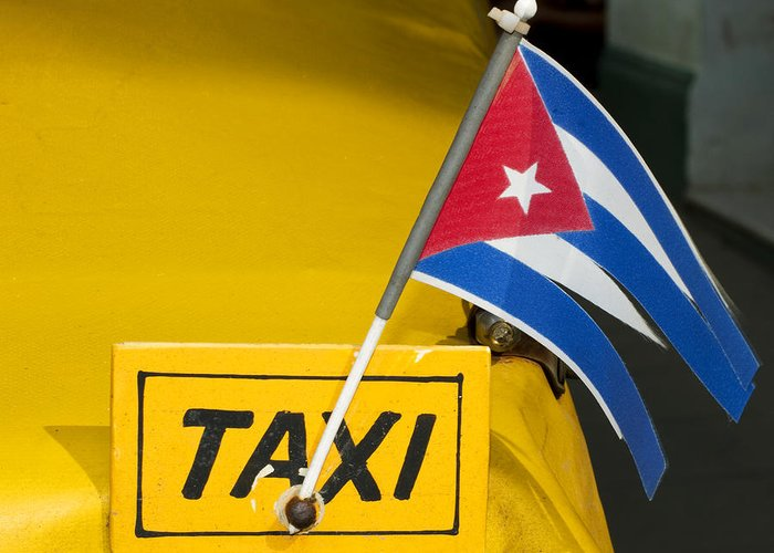 Cuba Greeting Card featuring the photograph Cuba Taxi by Norman Pogson
