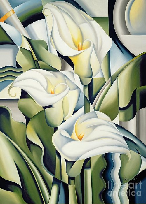 Cubist Greeting Card featuring the painting Cubist Lilies by Catherine Abel