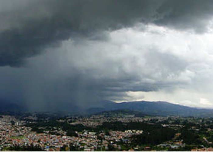 Al Bourassa Greeting Card featuring the photograph Cuenca Storm Panorama by Al Bourassa