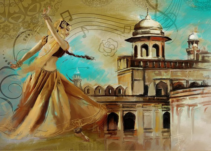 Pakistan Greeting Card featuring the painting Cultural Dancer by Catf