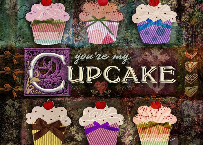 Cupcake Greeting Card featuring the digital art Cupcake by Evie Cook