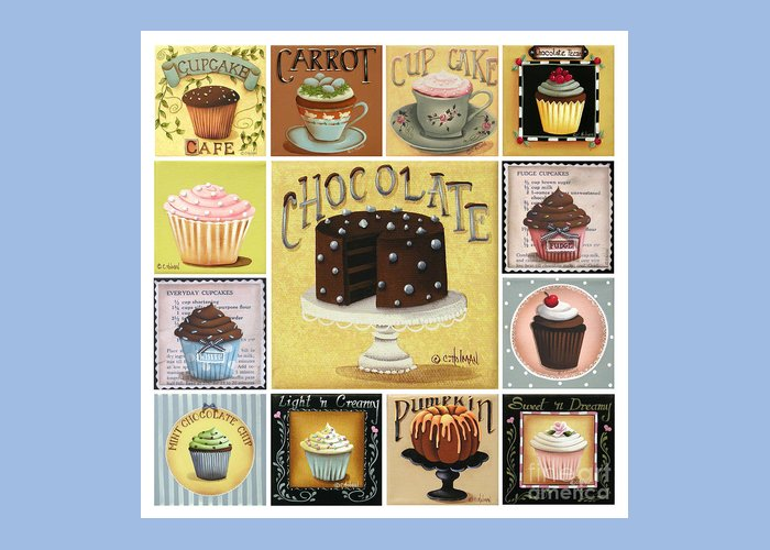 Art Greeting Card featuring the painting Cupcake Mosaic by Catherine Holman