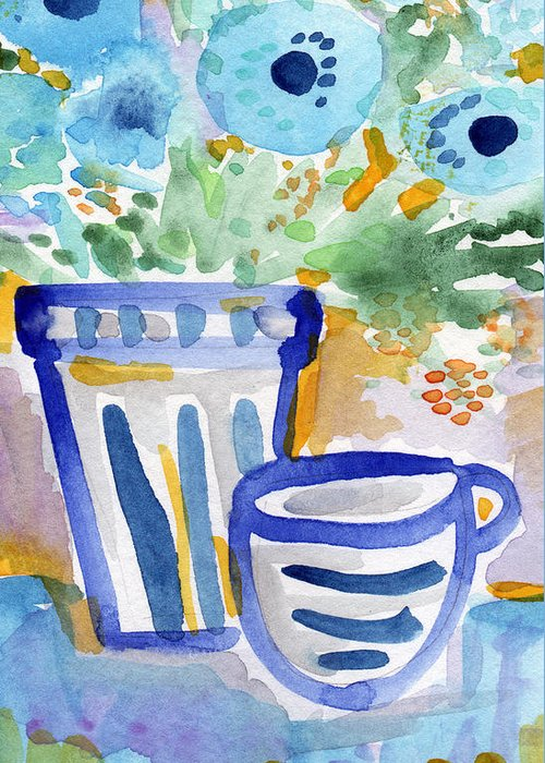 Blue And White Greeting Card featuring the painting Cups And Flowers- Watercolor Floral Painting by Linda Woods