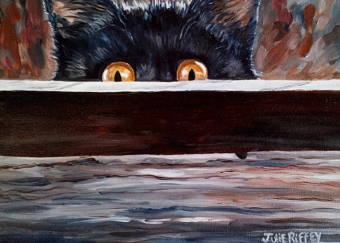 Cats Greeting Card featuring the painting Curiosity by Julie Brugh Riffey