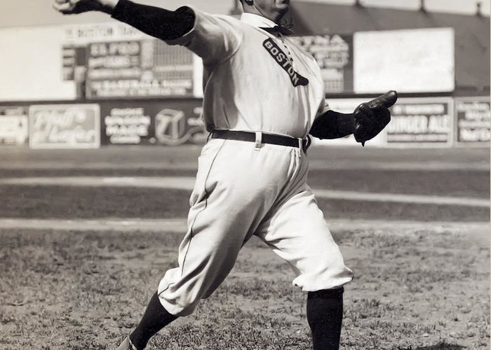 cy Young Greeting Card featuring the photograph Cy Young - American League Pitching Superstar - 1908 by Daniel Hagerman