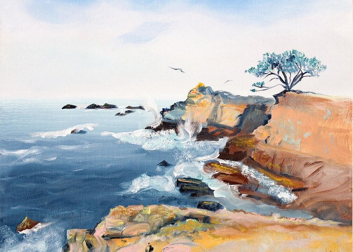 Seascape Painting Greeting Card featuring the painting Cypress And Seagulls by Asha Carolyn Young
