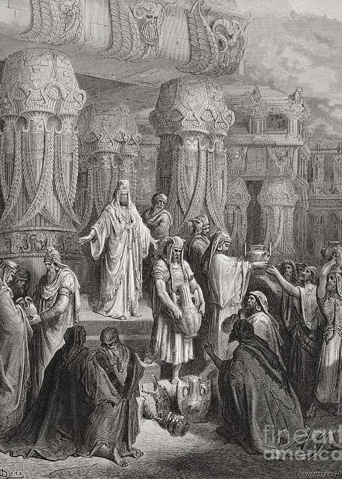 King Of The Persians Greeting Card featuring the painting Cyrus Restoring The Vessels Of The Temple by Gustave Dore