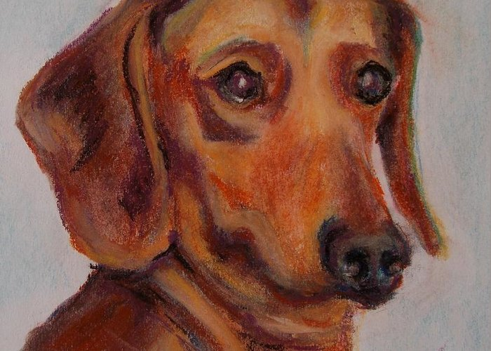 Greeting Card featuring the pastel Dachshund by Mindy Sue Werth