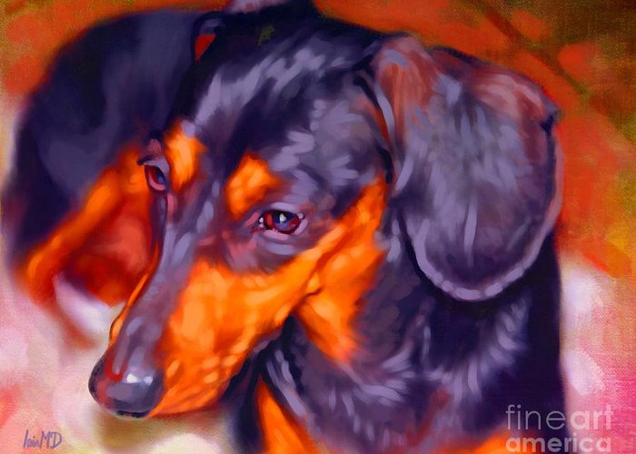 Dog Paintings Greeting Card featuring the painting Dachshund Portrait by Iain McDonald