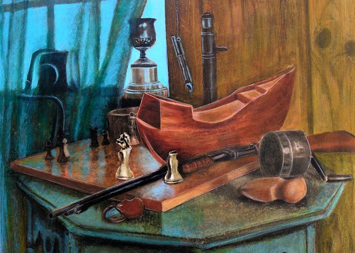 Antiques Greeting Card featuring the pastel Dad's Things by Karen Roncari