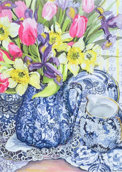 Still Life; Blue And White; China; Doily; Lace; Flowers; Jug Greeting Card featuring the painting Daffodils Tulips And Irises With Blue Antique Pots by Joan Thewsey