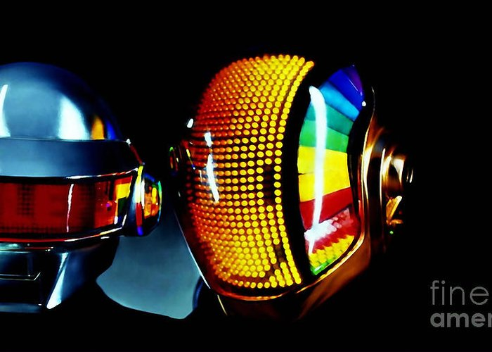 Tron Paintings Greeting Card featuring the mixed media Daft Punk by Marvin Blaine