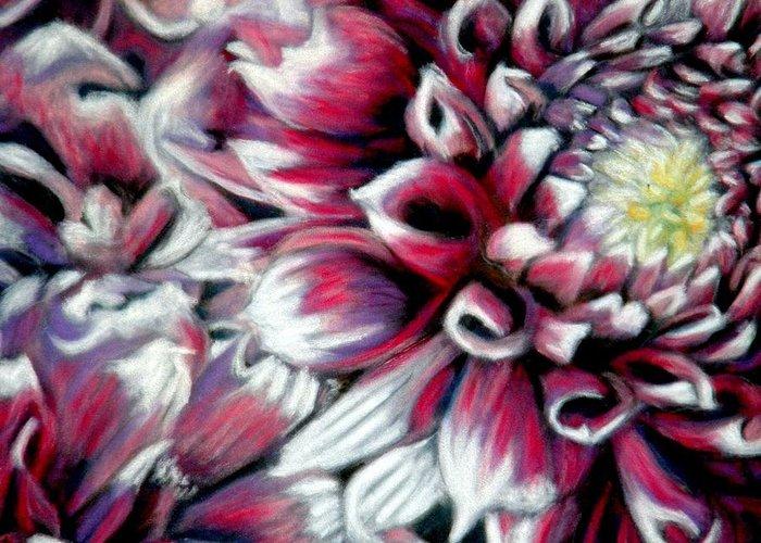 Dahlias Greeting Card featuring the pastel Dahlias In Pastel by Antonia Citrino