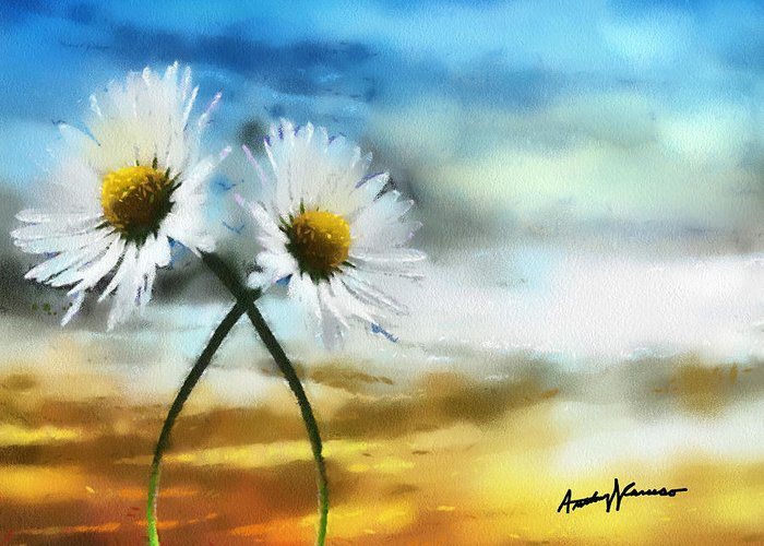 Daisy Greeting Card featuring the painting Daisies In Love by Anthony Caruso