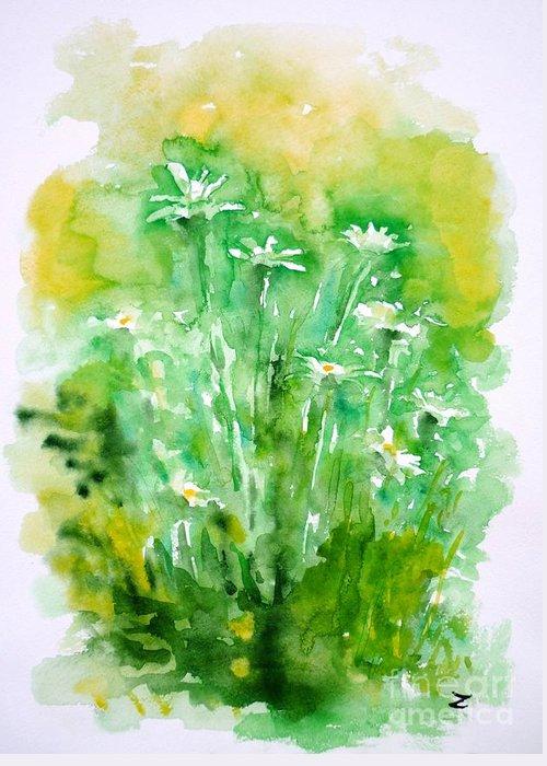 Daisies Greeting Card featuring the painting Daisies by Zaira Dzhaubaeva