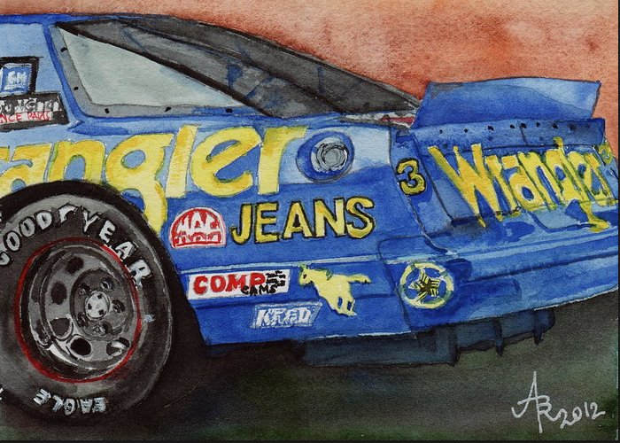 Blue Greeting Card featuring the painting Dale Earnhardt's 1987 Chevrolet Monte Carlo Aerocoupe No. 3 Wrangler by Anna Ruzsan