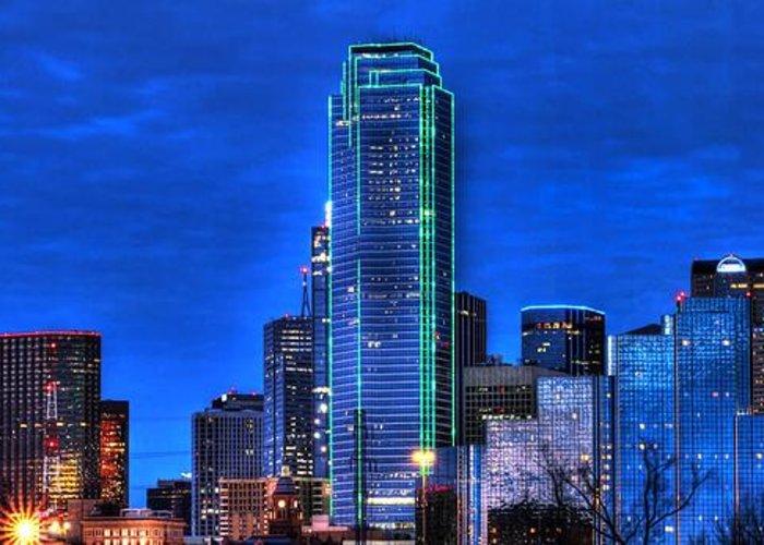 Dallas Greeting Card featuring the photograph Dallas Skyline Hd by Jonathan Davison