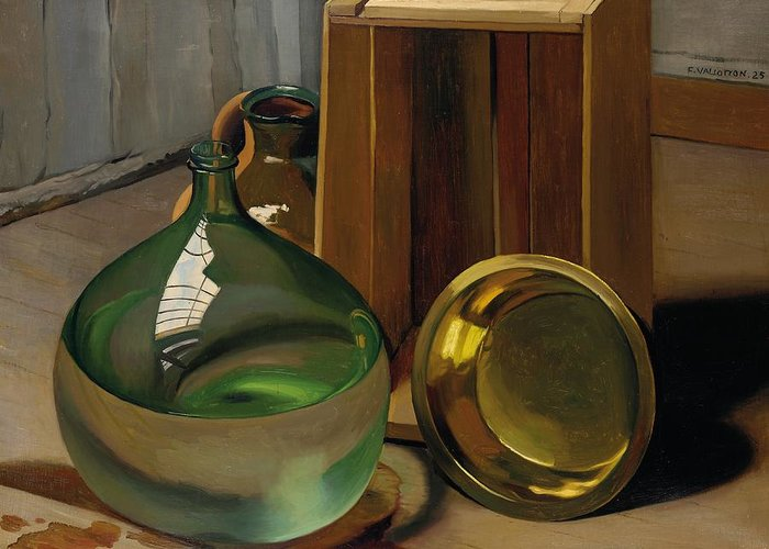 Nabis; Les Nabis; Dame-jeanne; Caisse; Box; Ewer; Jug; Vase; Vessel; Glass; Still Life; Rflection; Reflective; Shing; Metal; Wood; Ceramic; Materials; Surface; Surfaces; Wet; Brass; Transparent Greeting Card featuring the painting Dame-jeanne And Caisse by Felix Edouard Vallotton