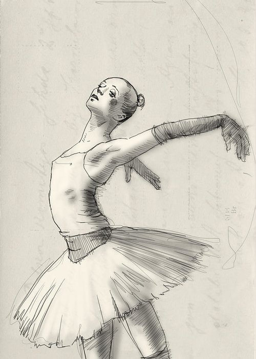Ballet Greeting Card featuring the drawing Dance by H James Hoff