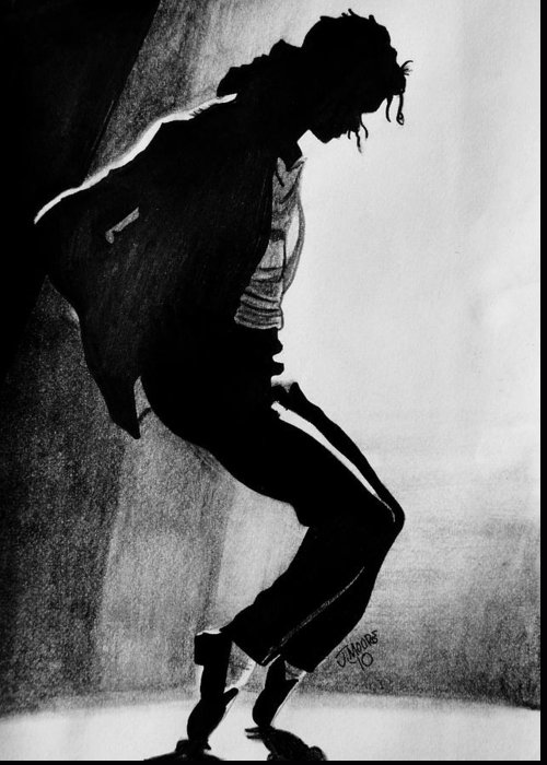 Michael Jackson Dance Tippy Toes Sillouhette Pop Star Music Greeting Card featuring the drawing Dance by Jeremy Moore