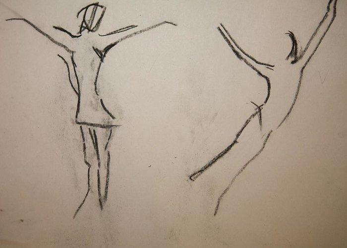 Dancing Greeting Card featuring the drawing Dancing Girls by Elena Svobodina