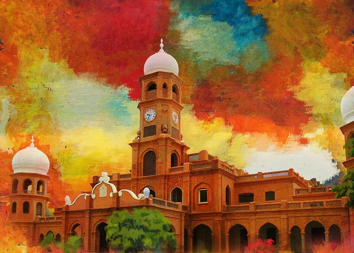 Pakistan Greeting Card featuring the painting Darbar Mahal by Catf