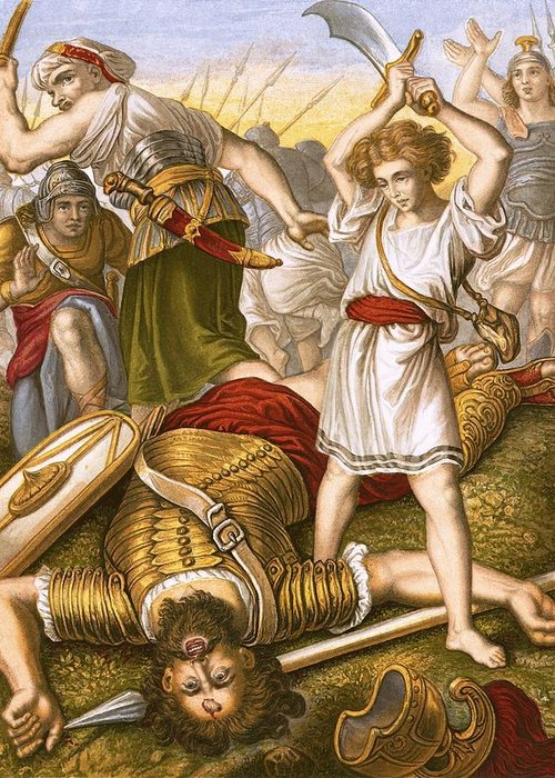 Bible Greeting Card featuring the painting David Slaying Goliath by English School