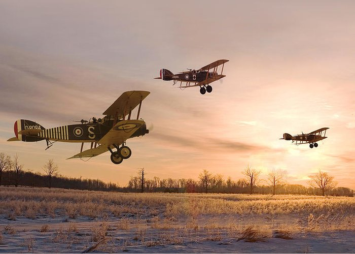 Aircraft Greeting Card featuring the digital art Dawn Patrol by Pat Speirs
