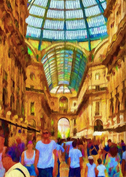 Galleria Greeting Card featuring the painting Day At The Galleria by Jeff Kolker