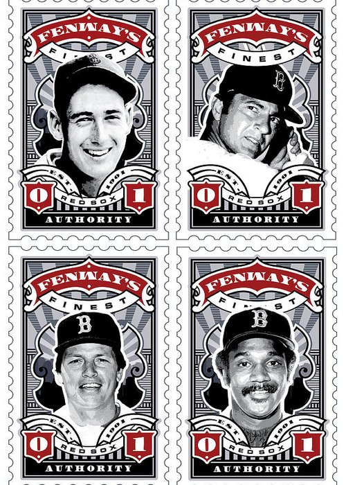 Ted Williams Greeting Card featuring the digital art Dcla Fenway's Finest Combo Stamp Art by David Cook Los Angeles
