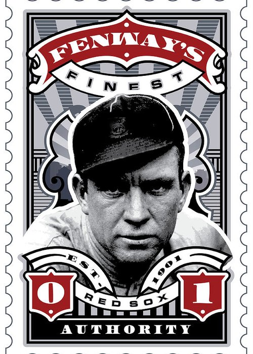 Ted Williams Greeting Card featuring the digital art Dcla Tris Speaker Fenway's Finest Stamp Art by David Cook Los Angeles