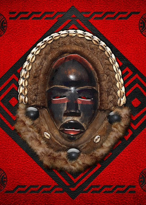 'treasures Of Africa' Collection By Serge Averbukh Greeting Card featuring the digital art Dean Gle Mask By Dan People Of The Ivory Coast And Liberia On Red Leather by Serge Averbukh