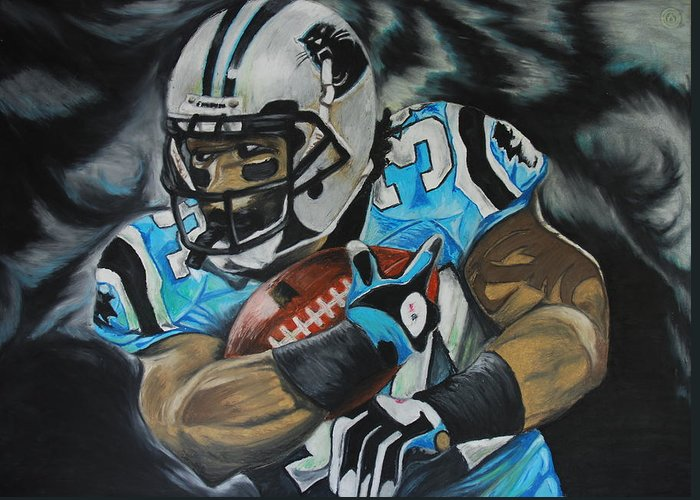 Deangelo Williams Print Greeting Card featuring the pastel Deangelo Williams by Ryan Doray