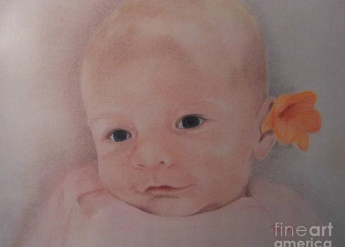 Portrait Of A Baby Greeting Card featuring the drawing Dear One by Mary Lynne Powers