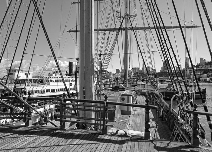 Balclutha Greeting Card featuring the photograph Deck Of Balclutha 3 Masted Schooner - San Francisco by Daniel Hagerman